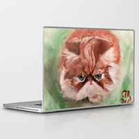 persian Laptop & iPad Skins featuring Grumpy Persian by Artist Amanda Rose