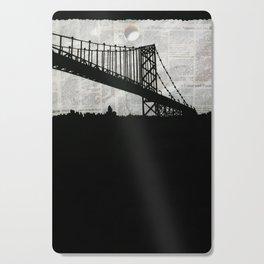 Paper City, Newspaper Bridge Collage Cutting Board