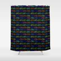 bicycles Shower Curtains featuring Colorful Bicycles DARK by MICHELLE MURPHY