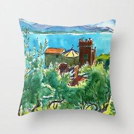 View of the sea and Monastery of Santa Croce, Liguria Throw Pillow