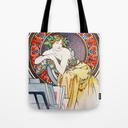 """Alphonse Mucha """"Girl With Easel"""" Tote Bag"""