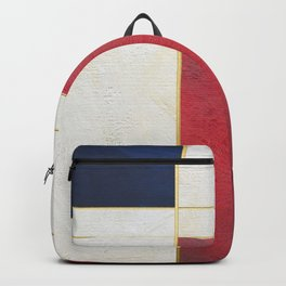 Blue, Red And White With Golden Lines Abstract Painting Backpack