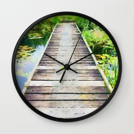 Pier through waterlilies watercolor painting Wall Clock