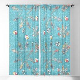Aqua Girls & Water Swirls Sheer Curtain