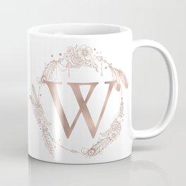 Letter W Rose Gold Pink Initial Monogram Coffee Mug