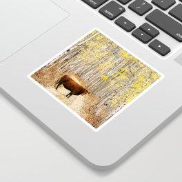 Cow in aspens Sticker