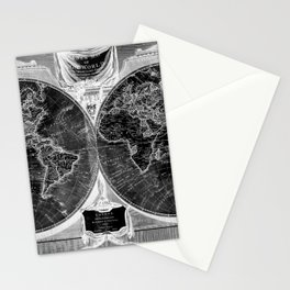Black and White World Map (1808) Inverse Stationery Cards