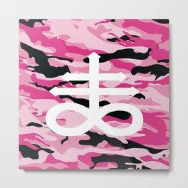 Pink Camo Satanic Cross Metal Print