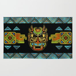 Tribal Ethnic  Mask  with Colored Glass and Gold decor Rug