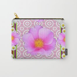 Floral Abundance Brown Shasta Daisy Pink Roses Abstract Art Carry-All Pouch