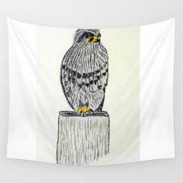Fine Art New Zealand  Falcon in Graphite and Charcoal on 300 gsm  Wall Tapestry