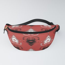 Ornament medallions - Black and white fractals on valiant poppy color Fanny Pack