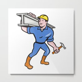 Construction Steel Worker Carry I-Beam Cartoon Metal Print