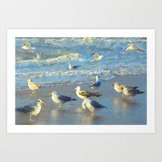 Seascape with gulls Art Print