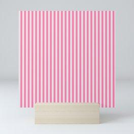 Narrow Vertical Stripes (Pink/Grey): classic stripes in pretty colors for a fresh clean look Mini Art Print