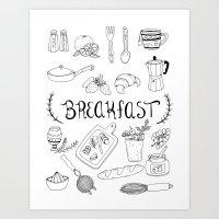 breakfast Art Prints featuring Breakfast by Brooke Weeber