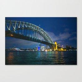 Sydney Opera House and Harbour Bridge at Night Canvas Print