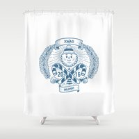 xmas Shower Curtains featuring Xmas Delivery by Mikhail Kalinin
