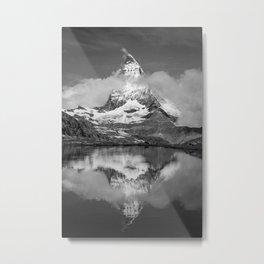 Cloudy Matterhorn B&W Metal Print