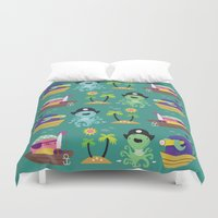 pirates Duvet Covers featuring Pirates by Maria Jose Da Luz