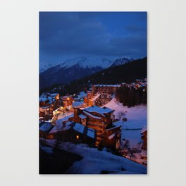 La Tania At Night - The French Alps Canvas Print