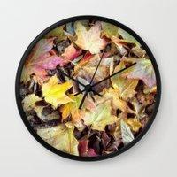 blanket Wall Clocks featuring autumn blanket by Bonnie Jakobsen-Martin