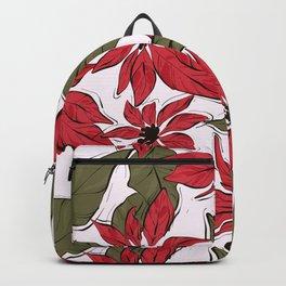 Poinsettia Christmas decor Backpack
