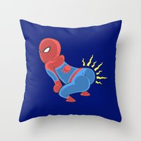 booty Throw Pillows featuring Spidey Booty by Pengew