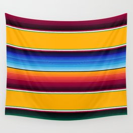 Traditional Mexican Serape in Yellow Multi Wall Tapestry
