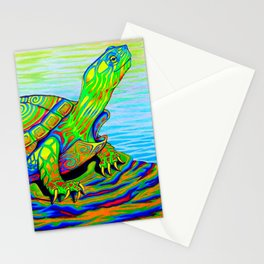 Colorful Psychedelic Neon Painted Turtle Rainbow Turtle Stationery Cards