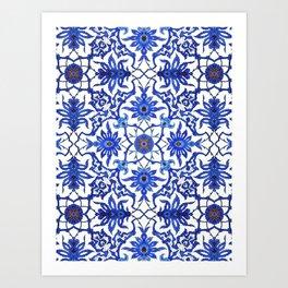 Art Nouveau Chinese Tile, Cobalt Blue & White Art Print