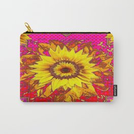 Sumptuous Yellow-Golden Sunflower  on Red Pattern going Fuchsia Abstract Carry-All Pouch