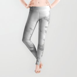 Marble - Silver and White Marble Pattern Leggings