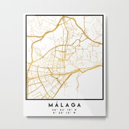MALAGA SPAIN CITY STREET MAP ART Metal Print