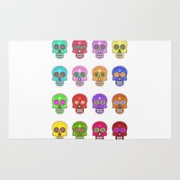 sugar skulls Area & Throw Rugs featuring Sugar Skulls by Andrew O'Rourke