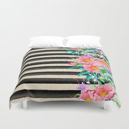 Modern stripes and tropical flowers hand paint Duvet Cover