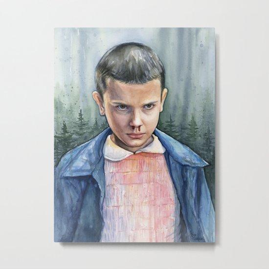 Stranger Things Eleven Art Watercolor Portrait Metal Print