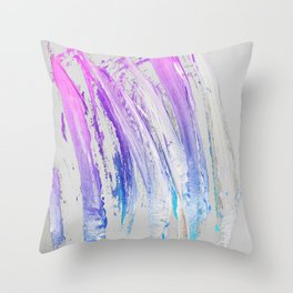 Lavender Magenta Brushstrokes on Light Gray Abstract Throw Pillow