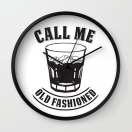 """Whiskey Drink / Whisky On The Rocks Design """"Call Me Old Fashioned"""" For Bourbon And Whiskey Drinkers Wall Clock"""
