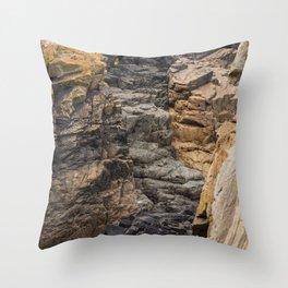 Bretagne - black rock formations between brown rock Throw Pillow