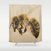 leon Shower Curtains featuring Bee IV (Leon) by Linda Wandt