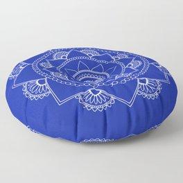 Mandala 01 - White on Royal Blue Floor Pillow