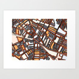 Abstract Map - Porter Square Somerville Art Print