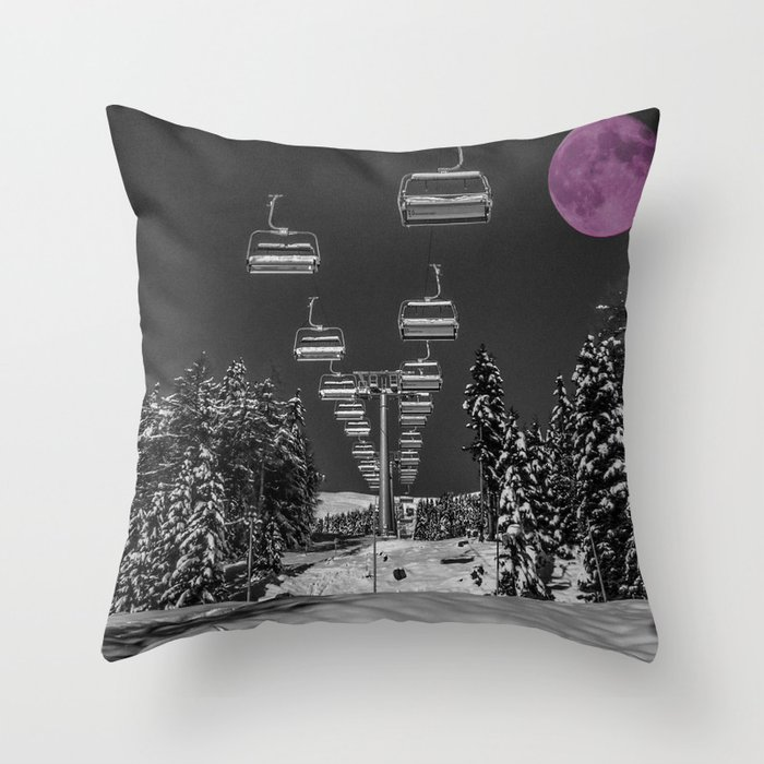 Chairlift to the Fuchsia Moon Throw Pillow