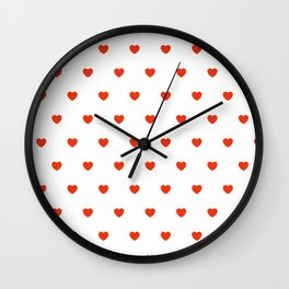 HEARTS ((cherry red on white)) Wall Clock