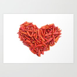 Spicy chilli peppers Valentine heart Art Print