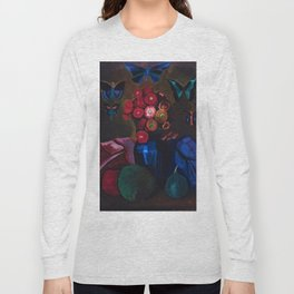Butterflies and Red Poppy Flowers in Vase Still Life by Joseph Stella Long Sleeve T-shirt