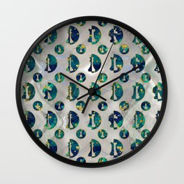 Marble and Gold Chessboard and Chess Pieces pattern Wall Clock
