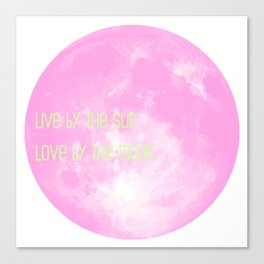 Love By The Moon Pink Canvas Print