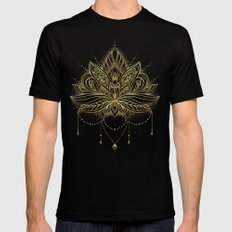 Ornamental Lotus flower MEDIUM Black Mens Fitted Tee